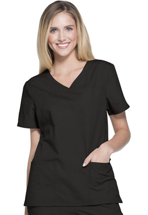 ScrubStar Women's Brushed Poplin V-neck Top Black (WD807-BKWM)
