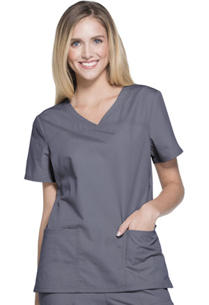 ScrubStar Women's Brushed Poplin V-neck Top Condor Grey (WD807-CGWM)