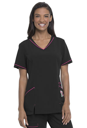 ScrubStar Women's V-Neck Top Black (WD822-BLKZ)