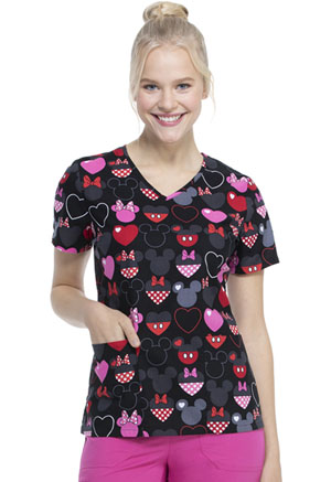 ScrubStar Women's V-neck Top Dots of Love (WM728X5-MKTL)