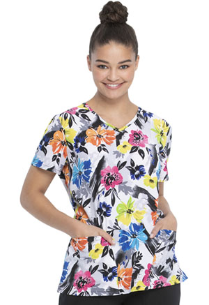 ScrubStar Women's V-neck Top Botanical Floral (WM729X19-BOFR)