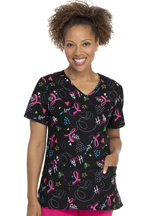 ScrubStar Women's V-neck Top All About the Cure (WM729X5-AATC)