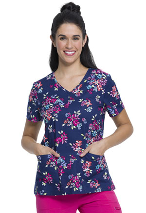 ScrubStar Women's V-neck Top FLORAL CRAZE (WM729X5-FLCZ)