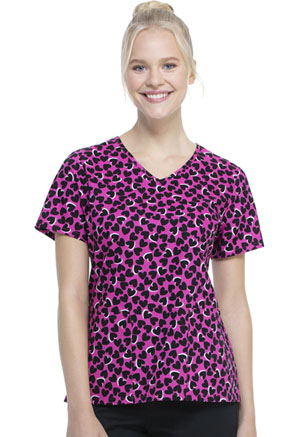 ScrubStar Women's V-neck Top Hearts Collide (WM729X5-HECO)