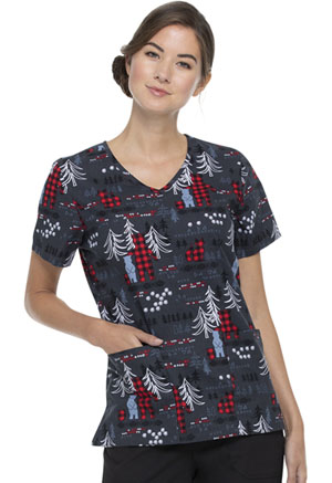 ScrubStar Women's V-neck Top Plaid Pals (WM729X5-PLAP)