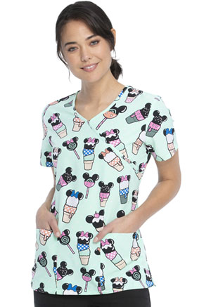 ScrubStar Mock Wrap Top Ice Cream Social (WM730X19-MKCA)