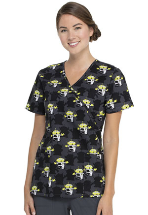 ScrubStar Women's Mock Wrap Top Alien Madness (WM730X5-TSAT)
