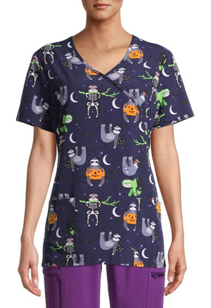 ScrubStar Women's Mock Wrap Top SPSL Spooky Sloths (WM731X19-SPSL)