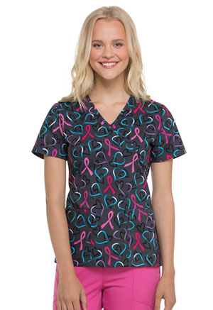 ScrubStar Women's Mock Wrap Top Art of Awareness (WM731X5-ATOA)