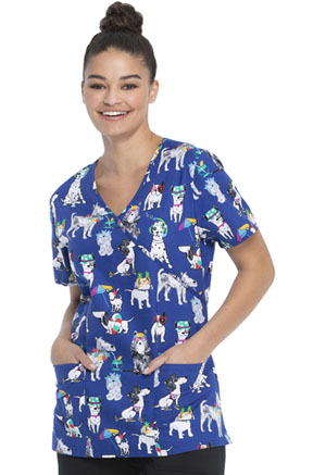 ScrubStar Women's Mock Wrap Top Dog Gone Vacation (WM731X5-DGGV)