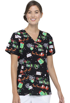 ScrubStar Women's Mock Wrap Top Santa's Night Flight (WM731X5-STNF)