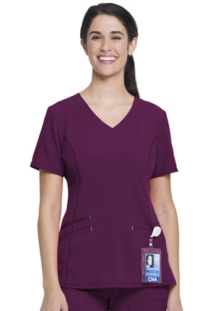 ScrubStar Women's Mock Wrap Top Wine (WM841-WIN)