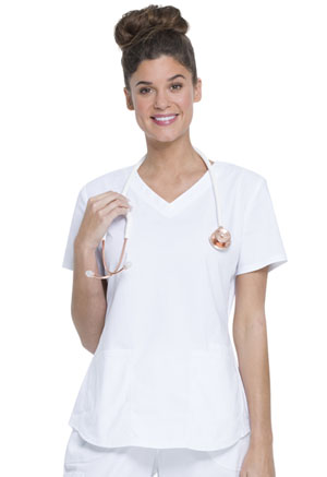 Women's V-Neck Top (WM852-WHT)