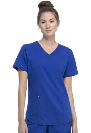 ScrubStar Premium Mock Wrap Top Electric Blue (WM862-EBW)