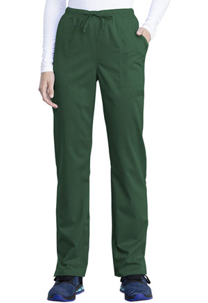 Cherokee Workwear Mid Rise Straight Leg Drawstring Pant Hunter Green (WW041AB-HUN)