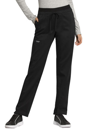 Cherokee Workwear Mid Rise Tapered Leg Drawstring Pant Black (WW105-BLK)