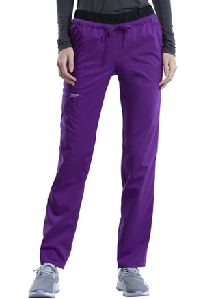 Cherokee Workwear Mid Rise Tapered Leg Drawstring Pant Perfect Plum (WW105-PLPF)