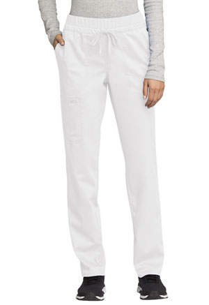 Cherokee Workwear Mid Rise Tapered Leg Drawstring Pant White (WW105-WHT)