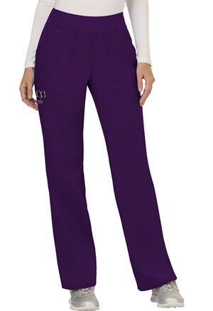 Cherokee Workwear Mid Rise Straight Leg Pull-on Pant Eggplant (WW110-EGG)