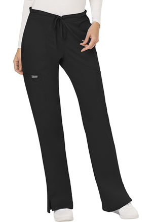 Cherokee Workwear Mid Rise Moderate Flare Drawstring Pant Black (WW120-BLK)