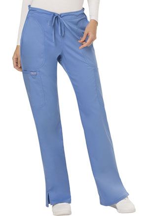 Cherokee Workwear Mid Rise Moderate Flare Drawstring Pant Ciel Blue (WW120-CIE)