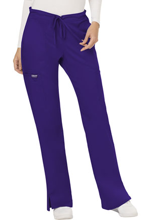 Cherokee Workwear Mid Rise Moderate Flare Drawstring Pant Grape (WW120-GRP)