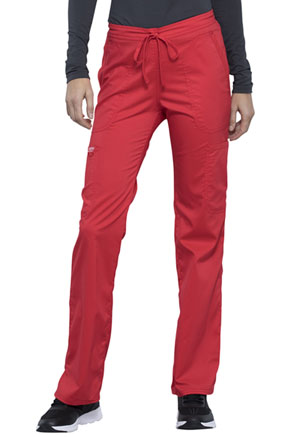 Cherokee Workwear Mid Rise Moderate Flare Drawstring Pant Hot Tomato (WW120-HOTT)