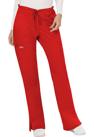 Cherokee Workwear Mid Rise Moderate Flare Drawstring Pant Red (WW120-RED)