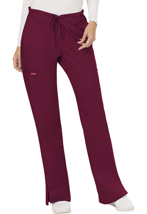 Cherokee Workwear Mid Rise Moderate Flare Drawstring Pant Wine (WW120-WIN)