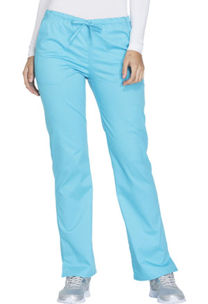 Cherokee Workwear Mid Rise Straight Leg Drawstring Pant Turquoise (WW130-TRQW)