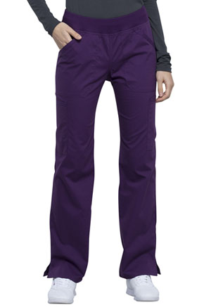 Cherokee Workwear Mid Rise Straight Leg Pull-on Cargo Pant Eggplant (WW170-EGG)