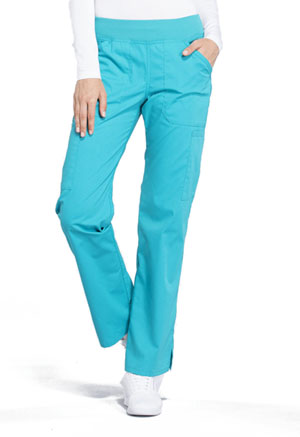 Cherokee Workwear Mid Rise Straight Leg Pull-on Cargo Pant Turquoise (WW170-TRQ)