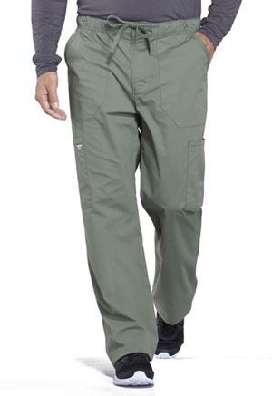 Cherokee Workwear Men's Tapered Leg Drawstring Cargo Pant Olive (WW190-OLV)