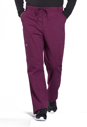 Cherokee Workwear Men's Tapered Leg Drawstring Cargo Pant Wine (WW190-WIN)