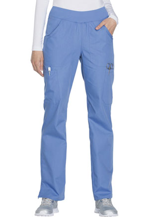 Cherokee Workwear WW Originals Women's Mid Rise Straight Leg Pull-on Cargo Pant Blue