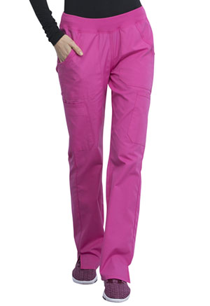 Cherokee Workwear Mid Rise Straight Leg Pull-on Cargo Pant Shocking Pink (WW210-SHPW)