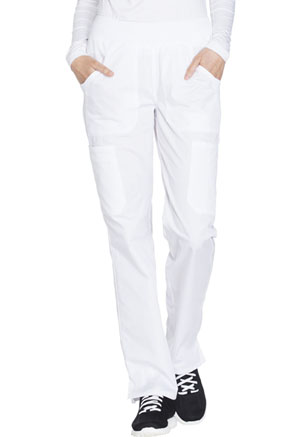 Cherokee Workwear WW Originals Women's Mid Rise Straight Leg Pull-on Cargo Pant White