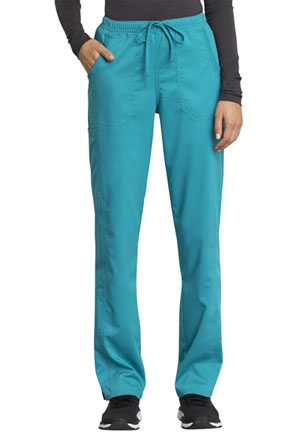 Cherokee Workwear Mid Rise Straight Leg Drawstring Pant Teal Blue (WW235AB-TLB)