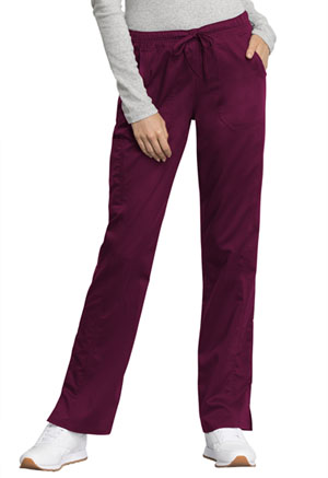 Cherokee Workwear Mid Rise Straight Leg Drawstring Pant Wine (WW235AB-WIN)