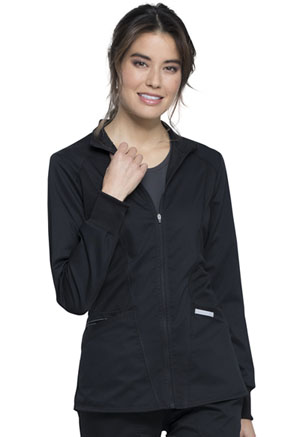 Cherokee Workwear Zip Front High-Low Jacket Black (WW301-BLK)
