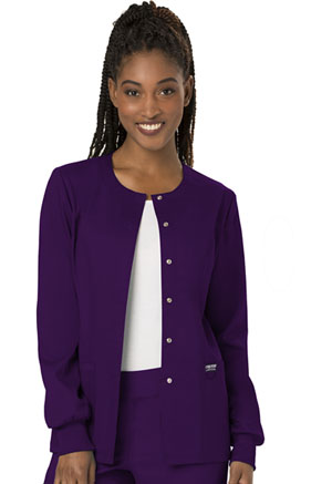 Cherokee Workwear Snap Front Jacket Eggplant (WW310-EGG)