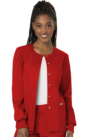 Cherokee Workwear Snap Front Warm-up Jacket Red (WW310-RED)