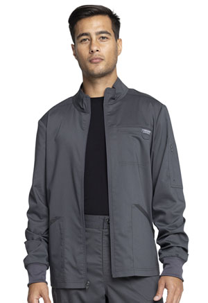 Cherokee Workwear Men's Zip Front Jacket Pewter (WW320-PWT)