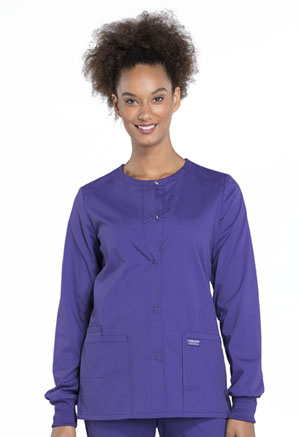 Cherokee Workwear Snap Front Jacket Grape (WW340-GRP)