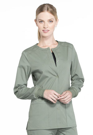 Workwear WW Professionals Snap Front Jacket (WW340-OLV) (WW340-OLV)