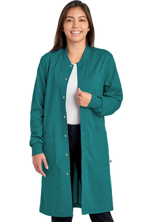 Cherokee Workwear Unisex 40 Snap Front Lab Coat Teal Blue (WW350AB-TLB)