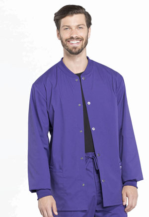 Cherokee Workwear Men's Snap Front Jacket Grape (WW360-GRP)