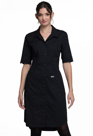 Cherokee Workwear Button Front Dress Black (WW500-BLK)
