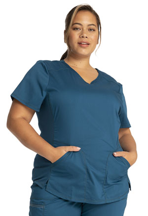Cherokee Workwear V-Neck Top Caribbean Blue (WW601-CAR)