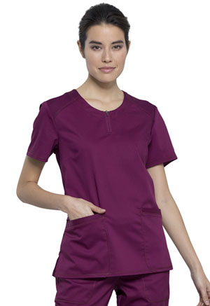 Cherokee Workwear Round Neck Top Wine (WW602-WIN)